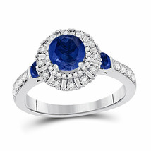 14kt White Gold Womens Round Blue Sapphire Halo Ring 1-3/4 Cttw - £835.23 GBP