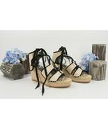 Tory Burch Cream Black Canvas Lace Up Espadrille Wedge Heels 8.5 NIB - $182.66