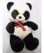 Animal Fair Panda Teddy Bear Vintage Plush Stuffed Animal Red Plaid Bow - $29.68