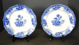 "Two Antique Flow Blue 9 1/2"" Plates - Shell Fruit Flower Center - $47.49"