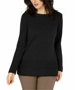 Karen Scott Women's Black Cotton Ottoman-Stitch Boat-Neck Sweater Size M... - $12.51