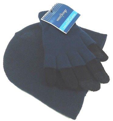 WEST LOOP - WOMEN - NAVY - BLACK - TEXTING - GLOVES - BEANIE - CAP - SET - NEW