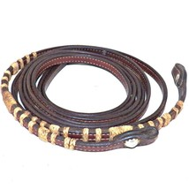 Bridle Leather Braided Rawhide Western Show Split Reins 7 Feet Long - $79.99