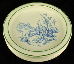 Rare Antique Royal Doulton Flow Blue Baby Plate Dish Bowl Boy Girl Children - $64.79