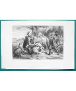 POCAHONTAS Indian Girl Saving Captain Smith - 1856 Engraving Print - $8.96