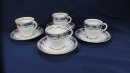 Antique ca1925 Four (4) Royal Worcester Deauville Demitasse Cups and Sau... - $86.02