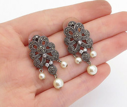 JUDITH JACK 925 Silver - Vintage Pearls Topaz & Marcasite Drop Earrings ... - $51.94