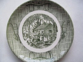 "Scio Pottery Green Currier & Ives Maple Sugaring Bread Butter Plate 6"" - $3.95"