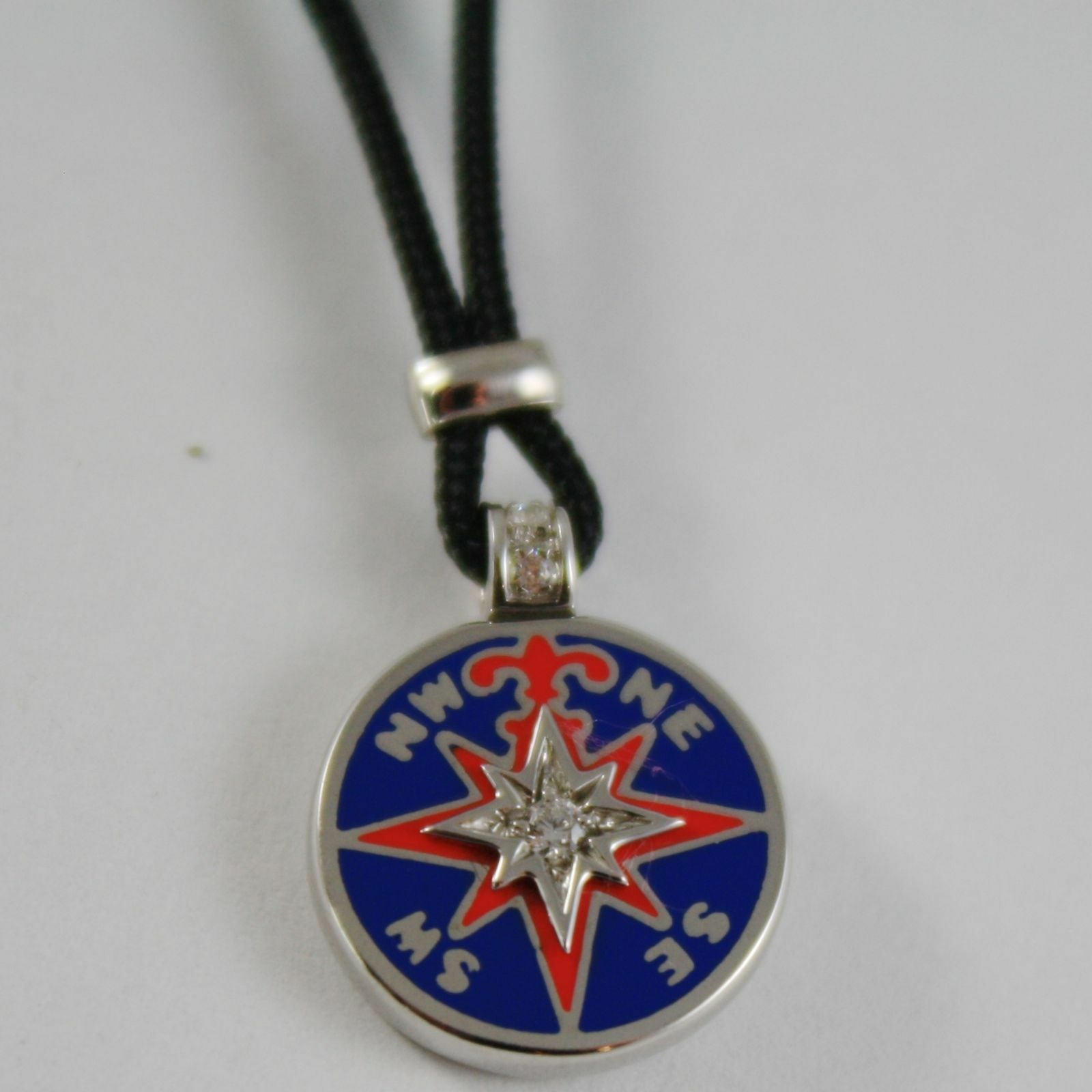 925 SILVER GLAZED WIND'S COMPASS PENDANT, NECKLACE BY ZANCAN MADE IN ITALY