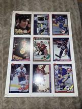 1991 TOPPS UNCUT HOCKEY CARD SHEET (PRE-PRODUCTION SAMPLES) - $2.99