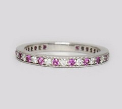 Tiffany & Co Platin Legacy Pink Saphir-Diamant Shared Band Ring - $2,998.28