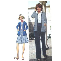 Vtg 70s Simplicity 5452 Misses Cardigan Jacket Flared Skirt Pants 8/31.5... - $6.95