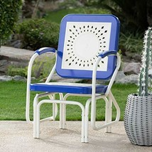 Retro Vintage Style Blue White Metal Patio Glider Chair Outdoor Furniture  - $146.02