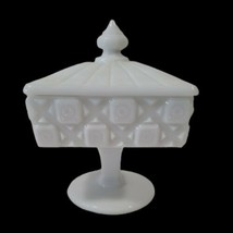 VTG Westmorland Square Footed Milk Glass Candy Dish with Lid Block Old Quilt  - $19.79