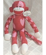 GANZ HV9194 In Stitches Red And Pink Heart Monkey 17 inch Ages 3 Plus - $16.00