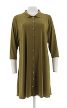 H Halston Petite Jet Set Jersey Knit Shirt Dress Olive Green PL NEW A289383 - $33.64