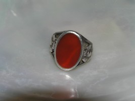 Estate 925 Silver Hallmarked Wide Red Oval with Carved Flower Sides Ring... - $30.27