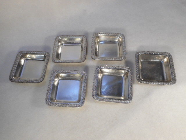 Vintage Silver Plate Set of 6 Butter Pats Nut Trays
