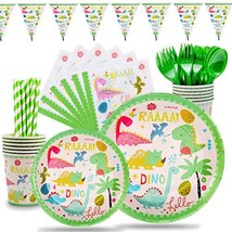 Dinosaur Party Supplies Boy and Girl Birthday Dino Themed Party Set Incl... - $22.52