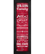 "Personalized Ball State Cardinals ""Family Cheer"" 24 x 8 Framed Print - $39.95"