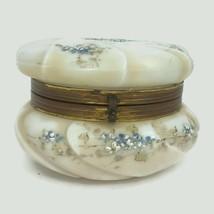 Antique Wavecrest Art Glass Footed Dresser Box Hand Painted Blue Floral U15 - $116.88