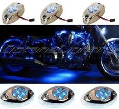 Octane Lighting 3Pc Blue Led Chrome Modules Motorcycle Chopper Frame Neon Glow L - $9.85