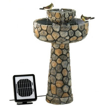 2-Tier Outdoor Cobblestone Solar Powdered Water... - $220.45