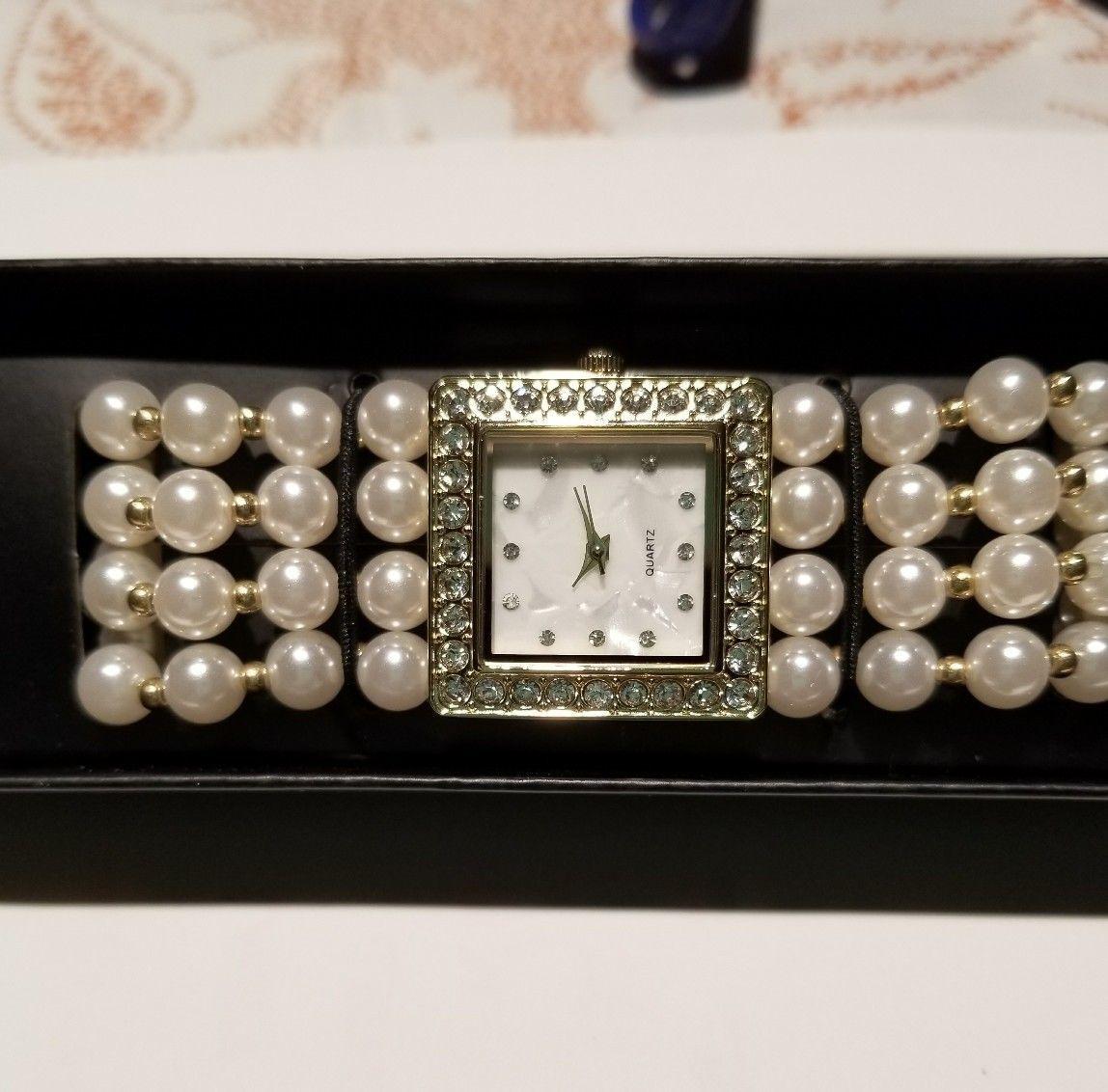 Modern Pearlesque Stretch Bracelet Watch