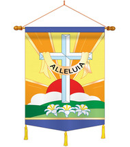 Alleluia - Applique Decorative Wood Dowel with String House Flag Set HS1... - $46.97