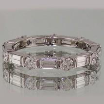 3.50 Ct Alternating Round & Emerald Cut Eternity Wedding Band In 14K Whi... - $249.00
