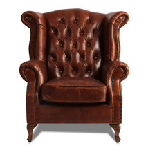 MarquessLife 100%Genunie Leather Handmade Tufted High Back Armchair Antique Sofa image 2