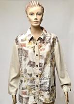 St John Sport Blouse M Beige Linen Silk Print Marie Gray Casual Work Shirt Top - $36.47