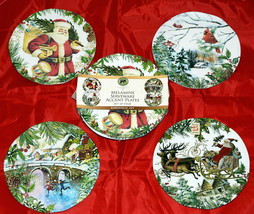 Michel Design Works Christmas Joy * 8 MELAMINE ACCENT DESSERT PLATES * B... - $49.99