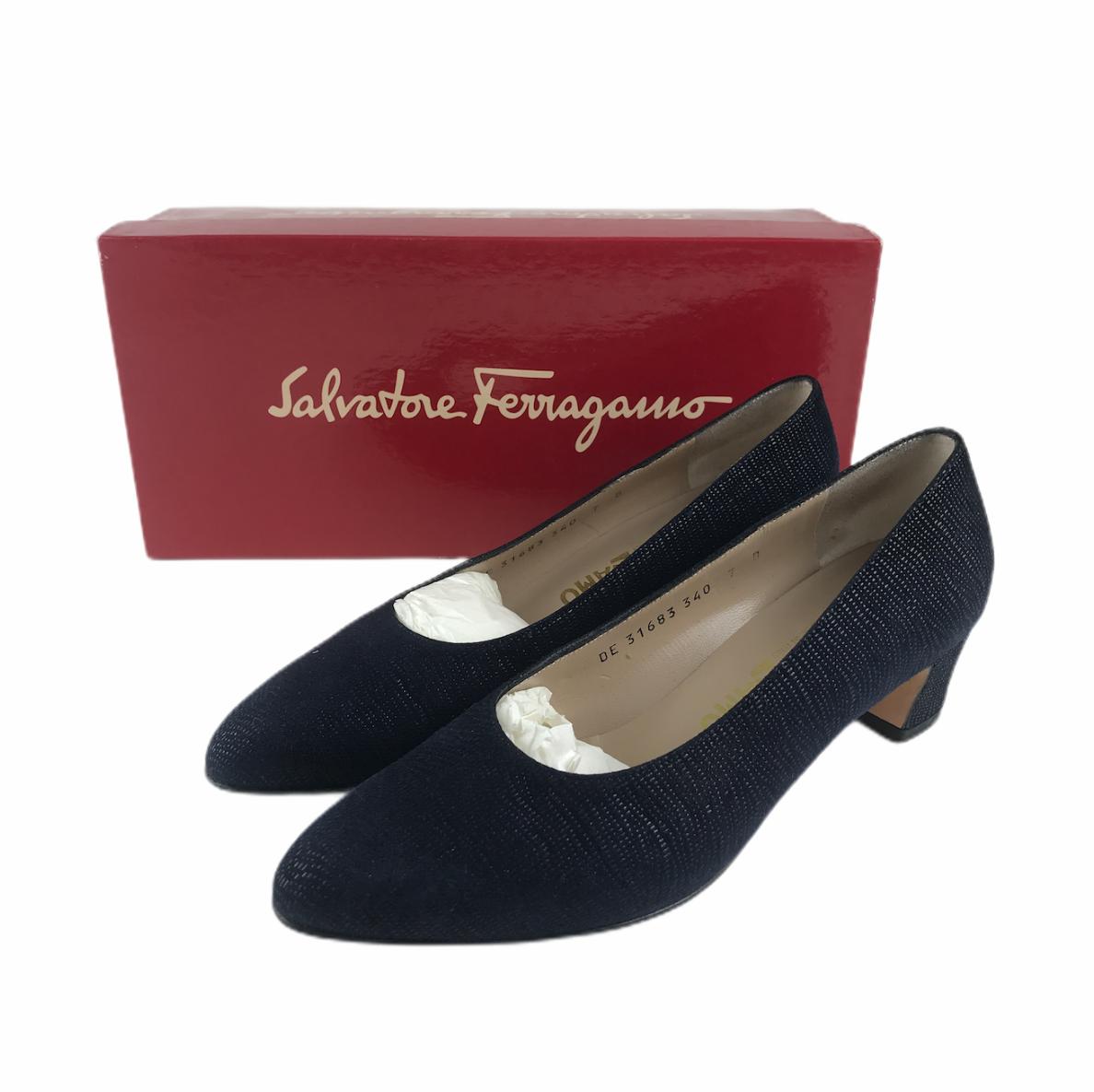 Vintage Salvatore Ferragamo Boutique Women's Rio Shoes Pumps Pebbled Blue Kid 7 - $55.78