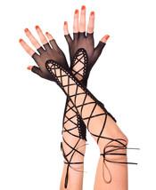 ML-433 Sexy Black Fingerless Lace Up Fishnet Gloves Gogo Dancer Rave Rav... - $10.95