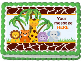 BABY ANIMALS SAFARI Edible cake topper image party decoration - $6.50+