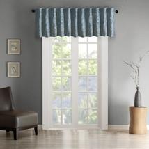 Luxury Blue Faux Silk Embroidered Rod Pocket Window Valance - $35.14