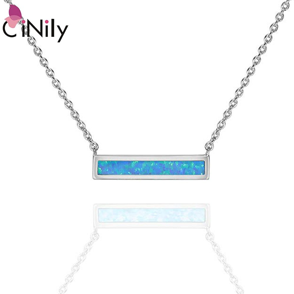 2019 White & Blue Fire Opal Stone Chokers Necklaces & Pendants Silver Plated Squ