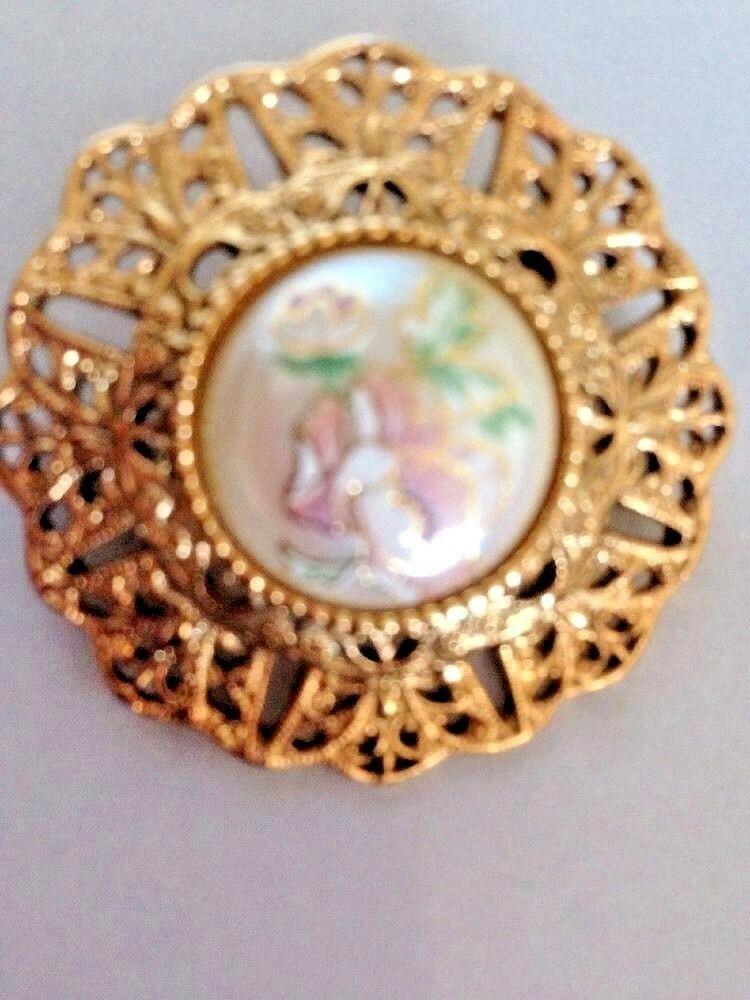 Vtg 1928 co BROOCH PIN Pink Porcelain Rose Faux Pearl Gold Tone