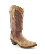 CORRAL Size 7.5 Eagle Bird A2227 Beige Tan Western Boots 7 1/2 - $165.00