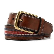 Tommy Hilfiger Men's 35MM Center Stripe Stitch Leather Belt Brown 11TL02X057 image 2