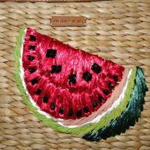 Michael Kors Malibu Watermelon Woven Straw XL Zip Clutch image 9