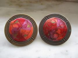 Vintage Bronze Tone & Red Orange Enamel Pierced Earrings - $6.00