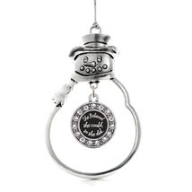 Inspired Silver So She Did Circle Snowman Holiday Christmas Tree Ornament With C - $14.69