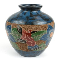 Fair Trade Handmade 5 inch Tall Vase - Bird Flower Nicaraguan Artisanal ... - $43.00