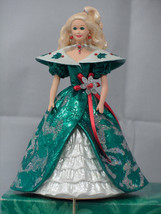 Mint 1996 Hallmark Mattel Sparkly Green Christmas Holiday Barbie Stockin... - $5.30