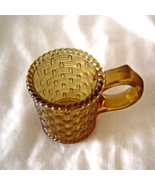 Vintage Amber Glass Basket Weave Miniature Cup with Handle - $14.99
