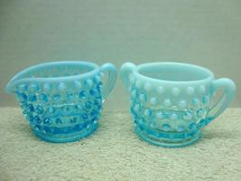 Fenton blue opalescent mini sugar & ceramer in the hobnail pattern. - $14.85