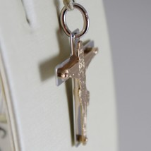 18K ROSE WHITE GOLD CROSS WITH JESUS, SHINY BRIGHT 1.14 INCHES, MADE IN ITALY image 2