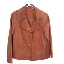 Chicos Women's Sz 1 Large Orange Copper Lined 100% Leather Jacket Coat 2... - $24.75
